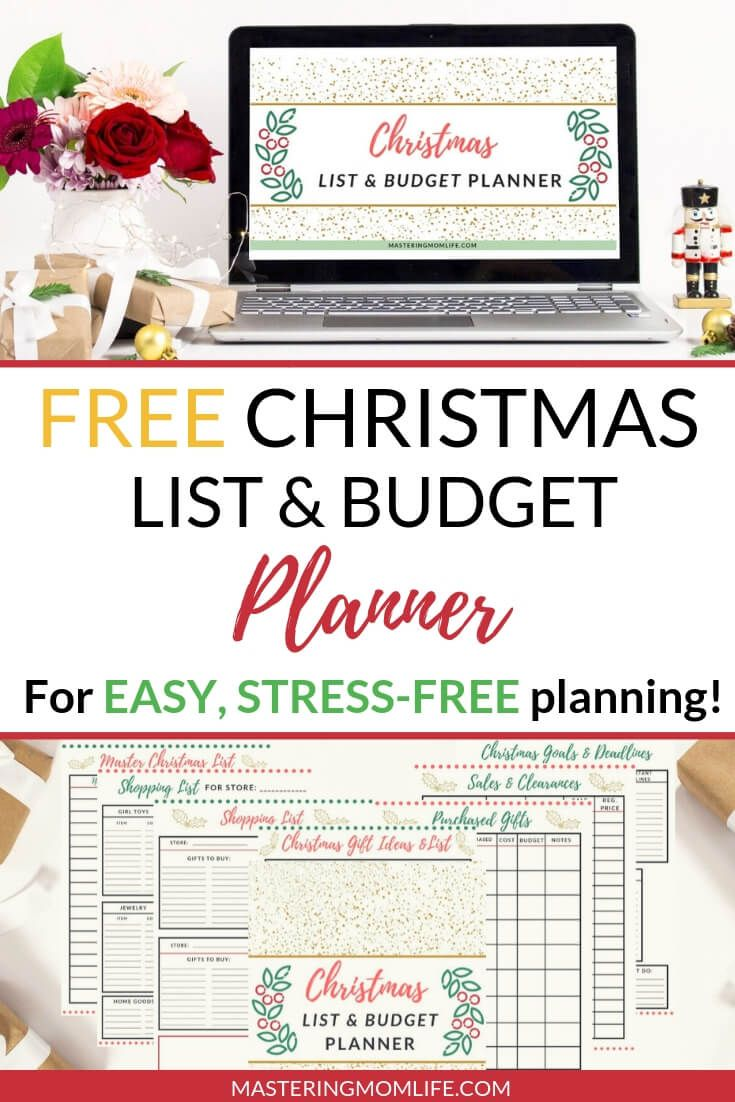free christmas list budget planner pins for stay at home moms