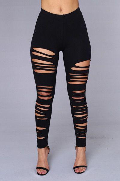 Black Ripped Leggings $17.99