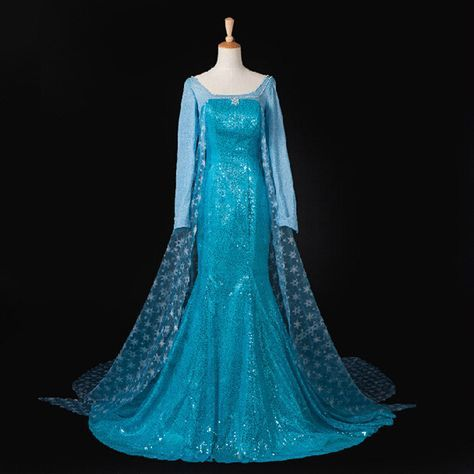 Custom Movie Cosplay Fatasia Festa Frozen Party Princess Anna Long Sleeve Costume Women Frozen Elsa Dress