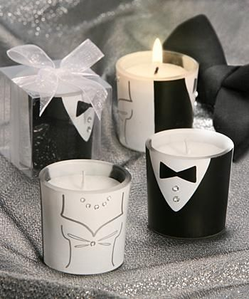 Tuxedo & Gown Design Votive Candle Favors