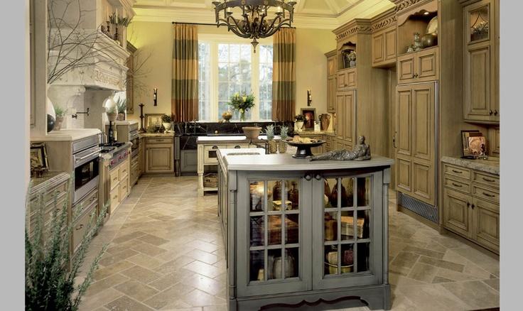 Kitchen with chevron cut travertine floor