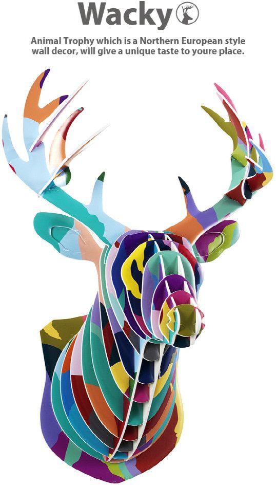 Wall-Art-Decals-Mounted-Deer-Head-Cardboard