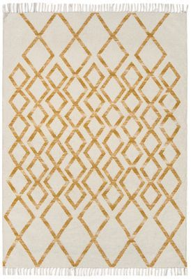 Debenhams Yellow woollen 'Diamond Kelim' rug | Debenhams