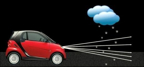 Intelligentes Auto Scheinwerfer System lenkt das Licht um die Regentropfen