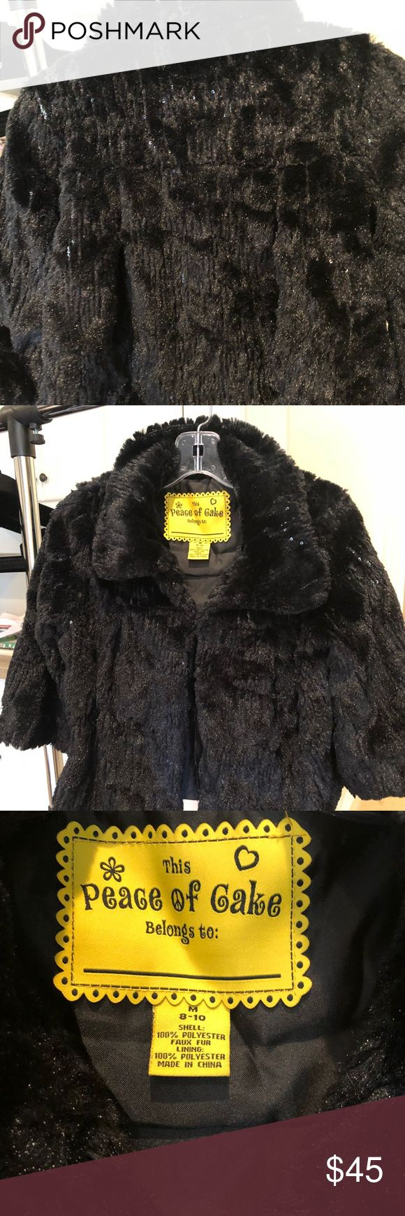 Peace of Cake girls faux fur jacket Fabulous girls coat. Closes at top with a hook Shirts & Tops Sweaters
