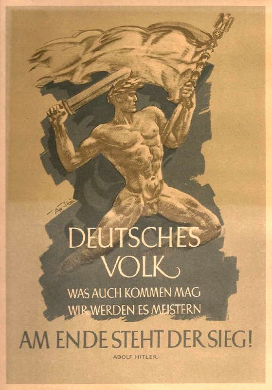 """thuleitalia: """"Atelier von Axster-Heudtlaß """" Wochenspruch der NSDAP, 13-19 February 1944: """"German People! Come what may, we will master it. In the end, Victory will be ours!"""" - Adolf Hitler"""