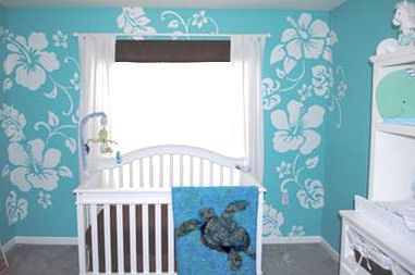 Blue and White Hawaiian Baby Boy Nursery Decor with Sea Turtle Theme Crib Bedding: We used our love for tropical settings and the ocean in all of our Hawaiian nursery decorating ideas.  The nursery's decor had to be gender neutral since