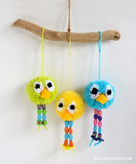 Add some bright colors to a room with these cute and silly pom pom birds from Michelle of MollyMoo! Don't you think this is a perfect craft for you and your little ones to do together? Make one, two, or a whole flock to hang on a wall! These adorable little birds will brighten your day …