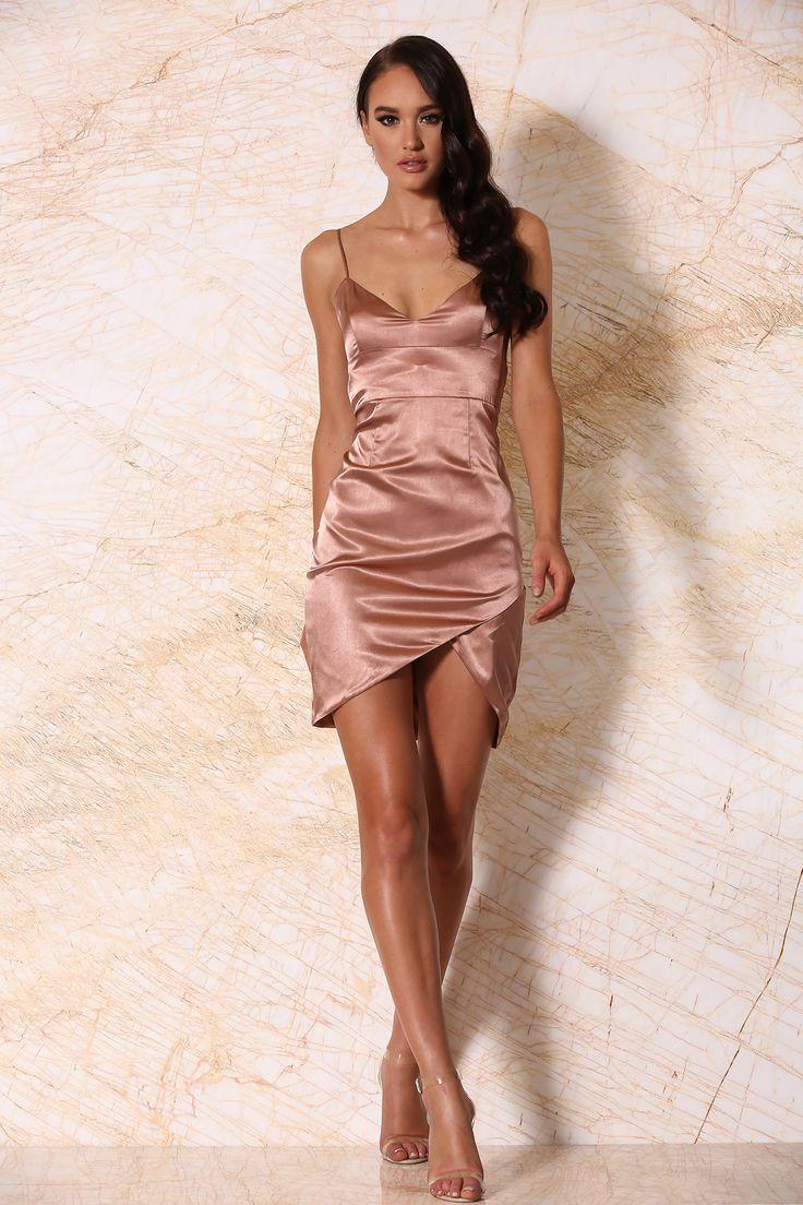 Estella satin mini dress rose gold with images