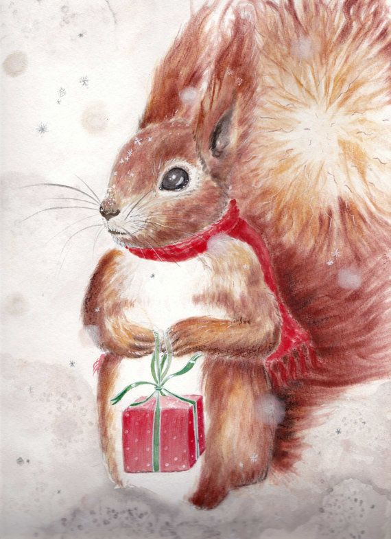 SALE 25% off!  Ends December 17th 2017!  I am selling some of my Christmas items, as well as some of my older drawings and paintings, in order to make room for a the new year :)  I hope that this will make some of you happy ;) :)   Sale ends midnight December 12th.  Merry Christmas! Original Art: Squirrel with present. Xmas