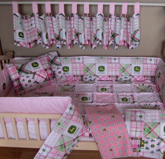 Baby Pink John Deere Fabric Crib Bedding SET Rag by 1723diane, $300.00