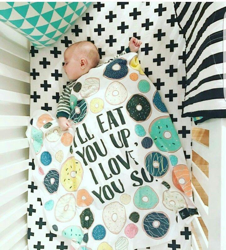 Donut blanket. Baby blanket. Baby shower gift. Modern nursery. Monochrome baby bedding. Girl's nursery. Boy's room.