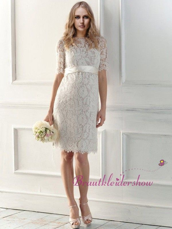 Brautkleid mit Spitze Elegant Standesamt Kurz Band 3/4 Ärmel GWRW401