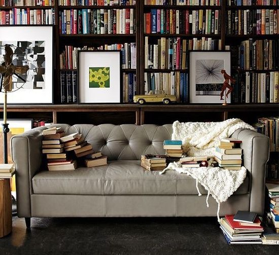 Books and a grey sofa