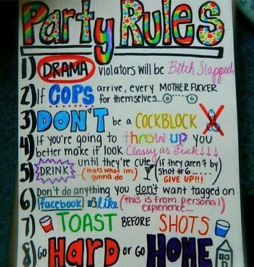 Party rules poster