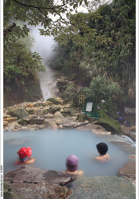 Hot Springs (Taiwan). 'Formed by the collision of two major tectonic plates, Taiwan's surface has plenty of cracks and fissures and the abundance of spring sources is hard to match anywhere else in the world. Nature lovers will find spas a double happiness: stone, wood and  marble are in these days, as are mountain views. And if you're willing to walk in, many pristine wild springs still lie deep in the valleys.' http://www.lonelyplanet.com/taiwan