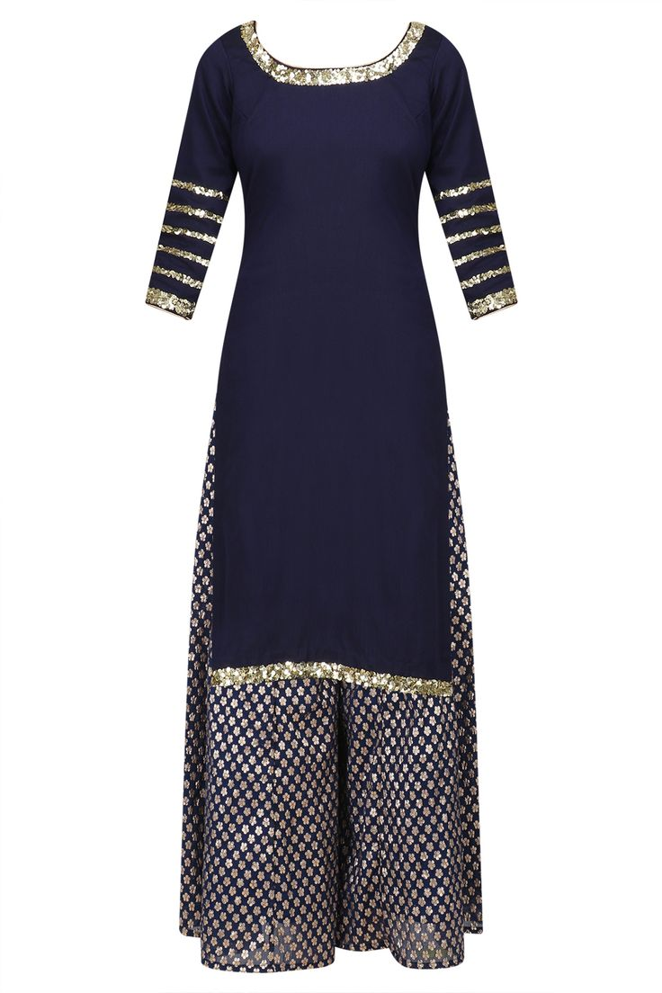 Navy blue sequins embroidered short kurta and sharara pants set available only at Pernia's Pop Up Shop.