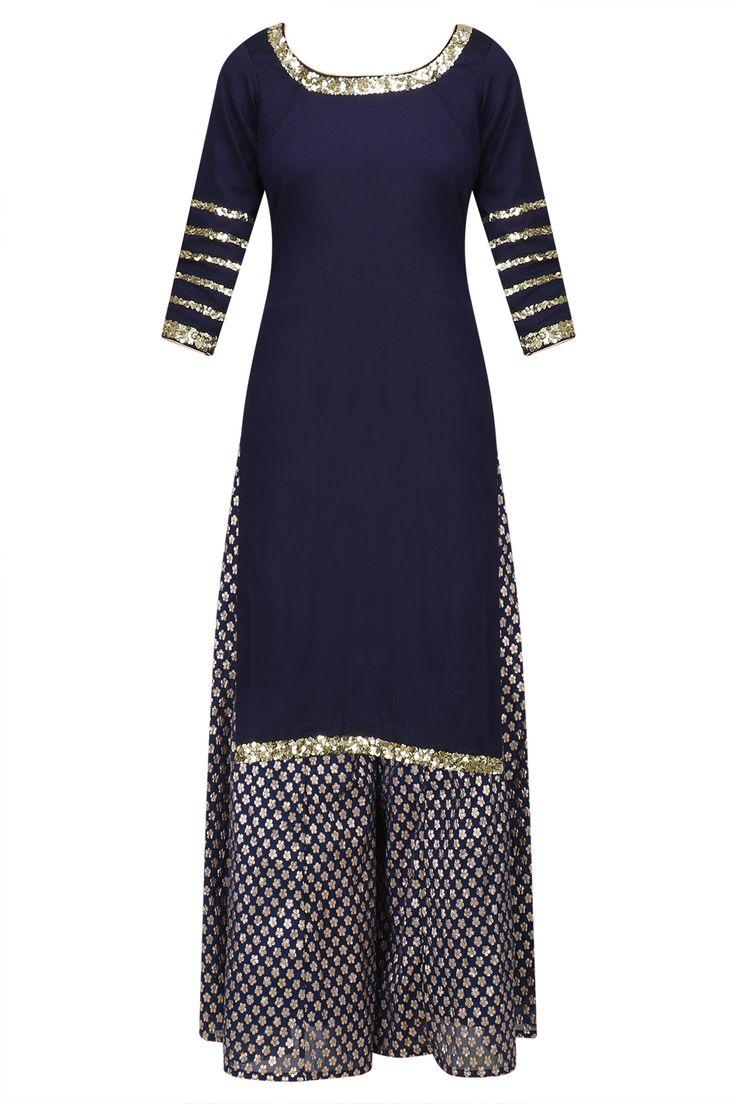 Navy blue sequins embroidered short kurta and sharara pants set available only at Pernia's Pop Up Shop.