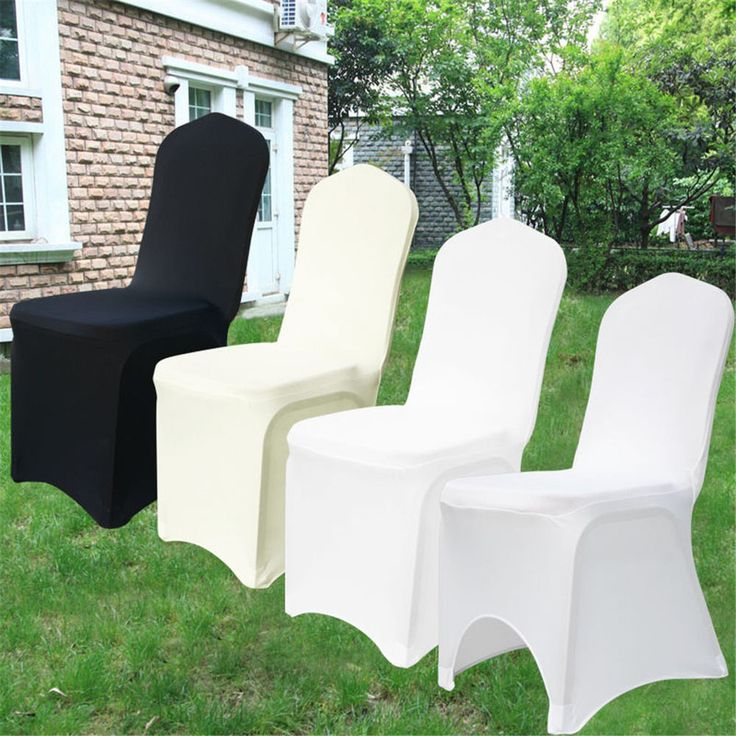 100× Black/White Lycra Stretch Polyester Spandex Chair Arched/Flat Cover Wedding #Unbranded