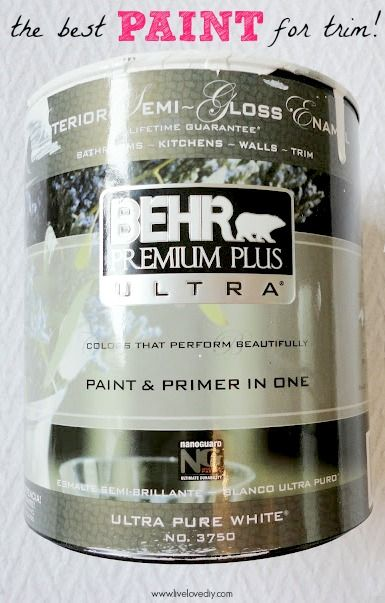 How To Paint Trim: what you should know! - Behr Premium Plus Semi-Gloss Enamel in Ultra Pure White