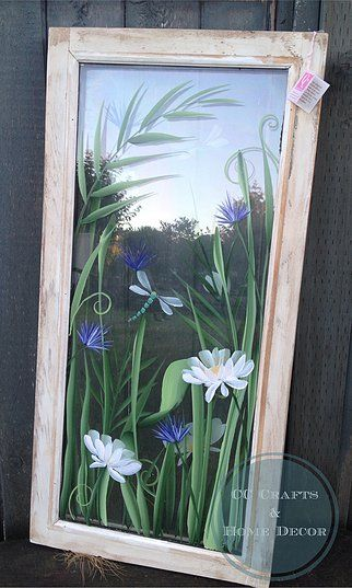 CC Crafts and Home Decor - Hand painted vintage window with dragonflies