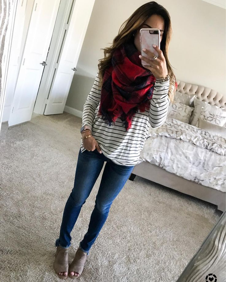 "3,643 Likes, 61 Comments - Alexis | Adoubledose.com (@alexis.belbel) on Instagram: ""Stripes + plaid I found a super similar tee + scarf (both on sale) and my shoes are also on…"""