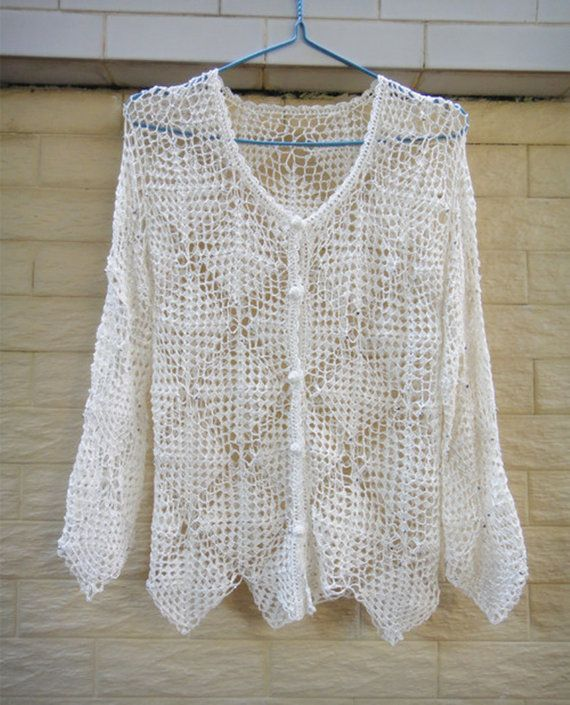 white granny square crochet cardigan button down