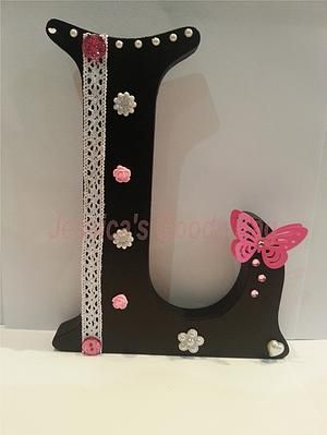 Shapes & Letters - Jessica's Goody Bag. Large freestanding MDF letter, handpainted and decorated according to your chosen colour scheme.