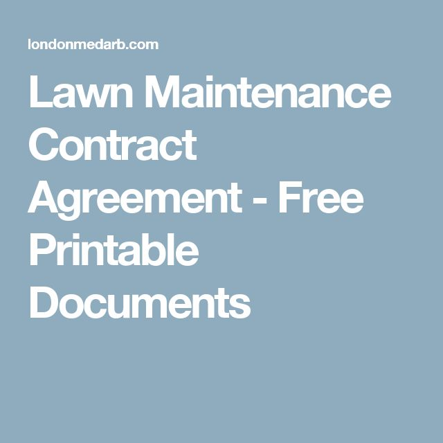 Lawn Maintenance Contract Agreement - Free Printable Documents
