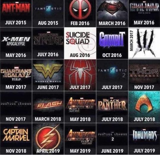 So I'm going to be broke next year. DC/Marvel Movie Lineup