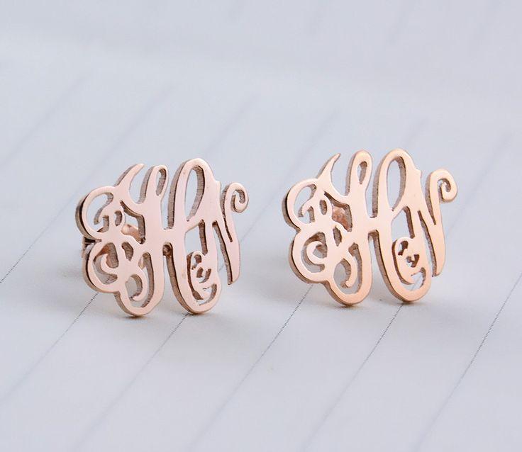 Rose Gold  Monogram Stud Earrings,Initial Stud Earrings,Personalized Monogram Earrings,Monogrammed Gifts,Monogram Jewelry E001 by MonogramForYou2014 on Etsy https://www.etsy.com/au/listing/472324910/rose-gold-monogram-stud-earringsinitial