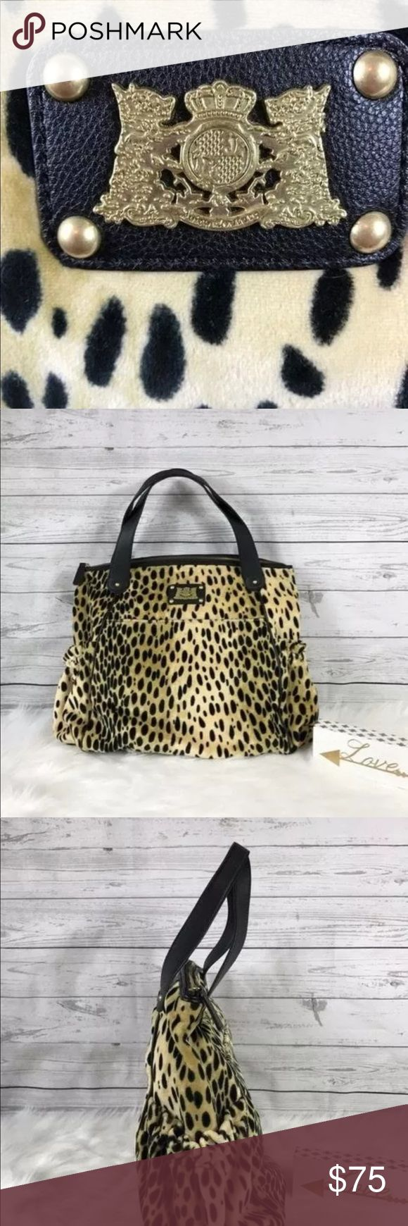 """Juicy Couture Scottie Dog Leopard Velour Bag Juicy Couture Scottie Dog Leopard Velour Bag Shoulder Satchel Black Brown HTF This gorgeous versatile bag is sold out and hard to find! • Pre-owned, item is gently used and shows wear • Gold toned hardware • Zip closure • 1 interior zip pocket • 2 interior slip pockets • 1 exterior front slip pocket with magnetic closure • 2 exterior side pockets • Double top handle drop: 7.5"""" drop approximate • Width: 17.5"""" approximate • Height: 14"""" approximate…"""