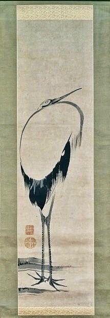 立鶴図 Standing Crane, 伊藤若冲 ITO Jakuchu. Japanese hanging scroll. Eighteenth century.