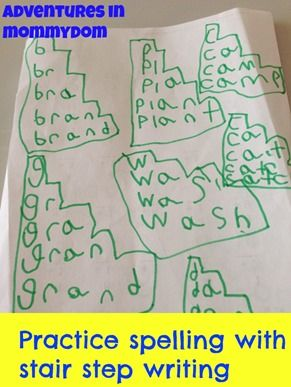 Kids can practice spelling with stair step writing while working on a vertical surface to promote appropriate wrist extension and grasp on the marker/crayon/pencil.