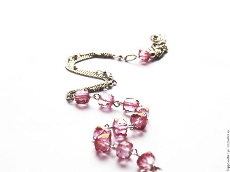 Купить Браслет с розовым топазом - розовый, розовый топаз, браслет с топазами, серебряный браслет