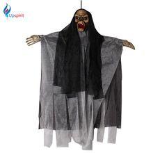 Halloween Fantôme Crâne Suspendus Accessoires Électrique Sound Control D'horreur Lumineux Yeux Effrayant Pendentif Maison Hantée Décoration(China (Mainland))