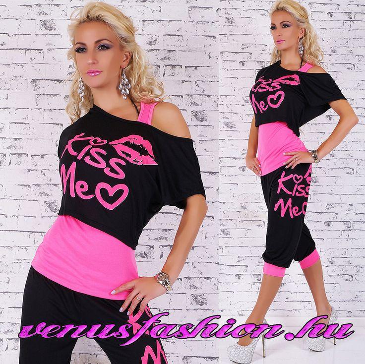 Divatos 3 részes fekete pink szett nadrág + felső + top - Venus fashion női ruha webáruház