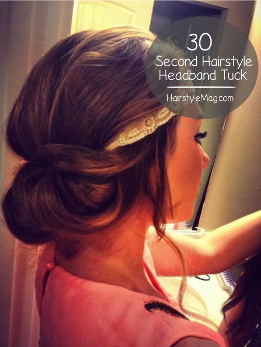 30 second headband tuck hairstyle