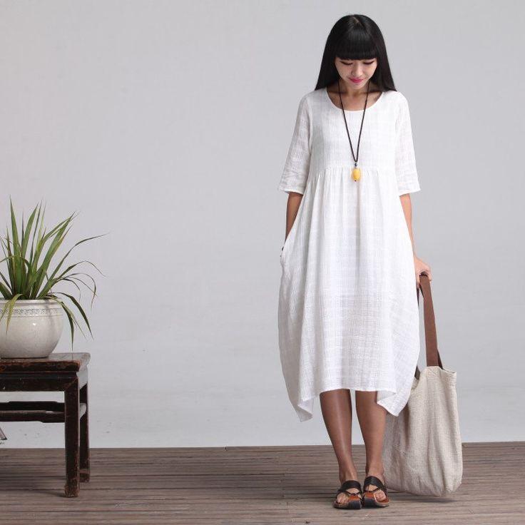 Larghi lungo Maxi Dress vestito estivo bianco di deboy2000