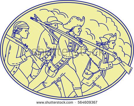Mono line style illustration of a american revolutionary soldiers servicemen holding rifle on their shoulders marching viewed from the side set inside oval shape.   #memorialday #monoline #illustration