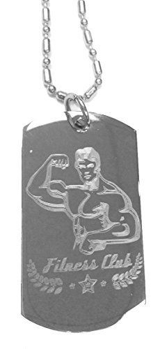 Muscle Guy Man Fitness Club Gym Workout - Luggage Metal Chain Necklace Military Dog Tag - http://www.exercisejoy.com/muscle-guy-man-fitness-club-gym-workout-luggage-metal-chain-necklace-military-dog-tag/fitness/