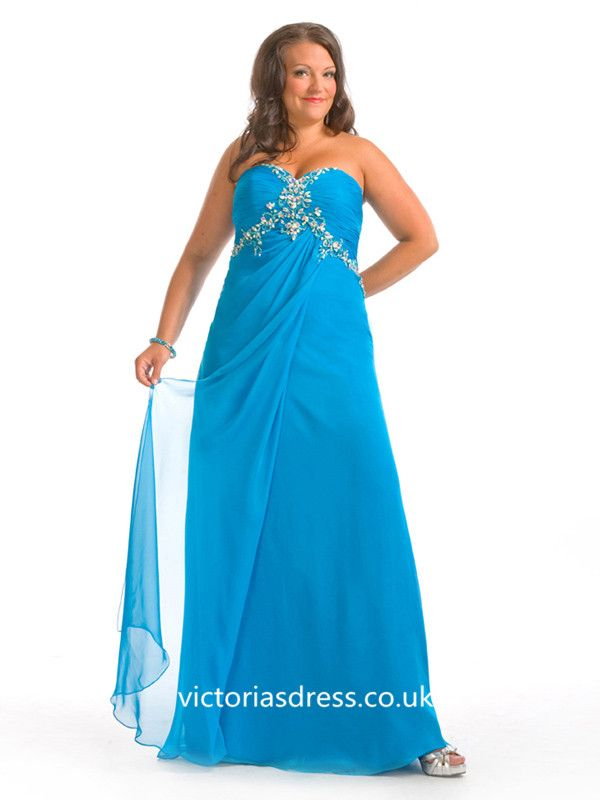 A-line Sweetheart Chiffon Plus Size Prom Dress