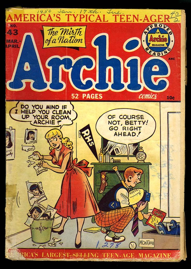 archie comics | ARCHIE COMICS #43 Clean Room cover Betty Veronica 1950