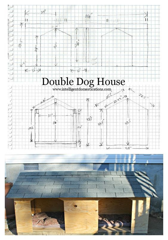 Our big dogs needed a new house so my hubby designed and built this Double Door Dog House for them. The doors face front and he added attachments for a heat lamp.