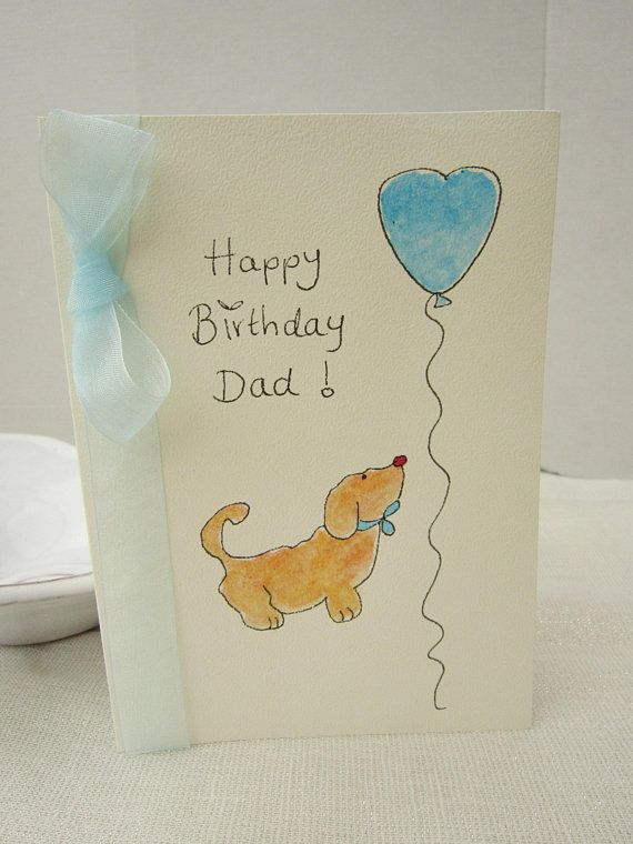 Dog Birthday Card Watercolour Card Dog Card Dad Gift Dad Etsy Hand Painted Card Dog Birthday Card Watercolor Cards