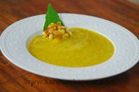 Cold Mango Soup: Mango and vegetables make a wonderful cold soup.
