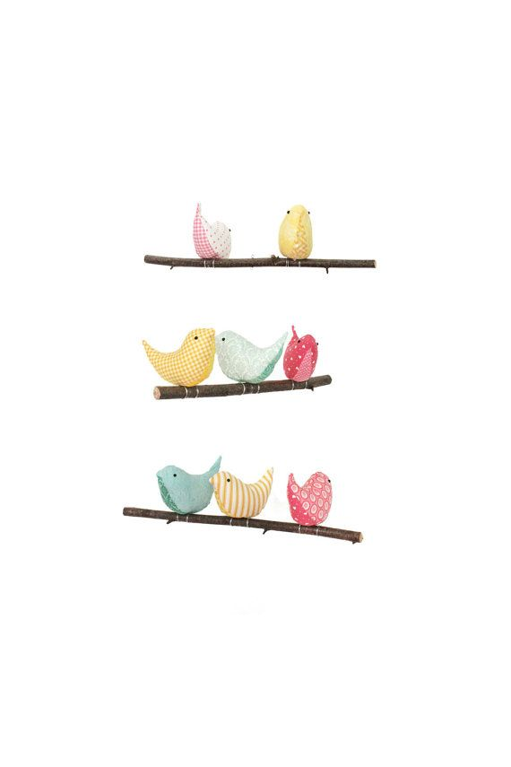 Nursery Bird Mobile - Baby Crib/Cot Decor - 8 Handmade Birds in Teal, Yellow and Pink Cotton Fabrics