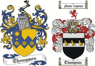 "Thompson Coat of Arms / Thompson Family Crest. Motto translated - ""Know thyself."""