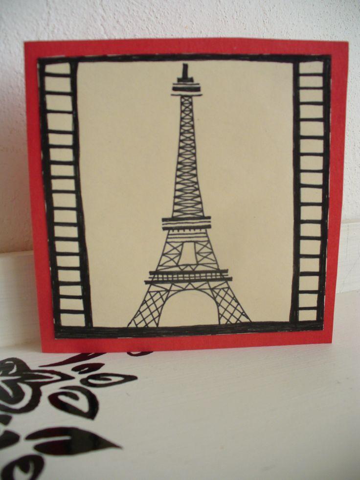 Eiffelovka otevírací přání, 10x10 cm ručně malované