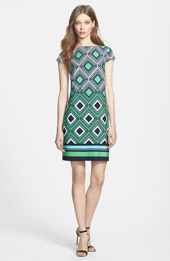Eliza J Print Jersey Shift Dress available at #Nordstrom